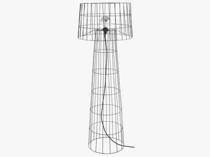 Baine Black Caged Metal Floor Lamp