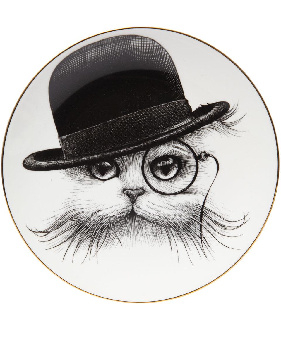 Black Cat In The Hat Tilt Bone China Plate 16cm