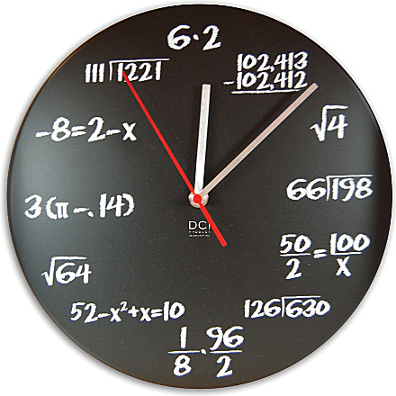 CUBIC Mathematical chalkboard clock