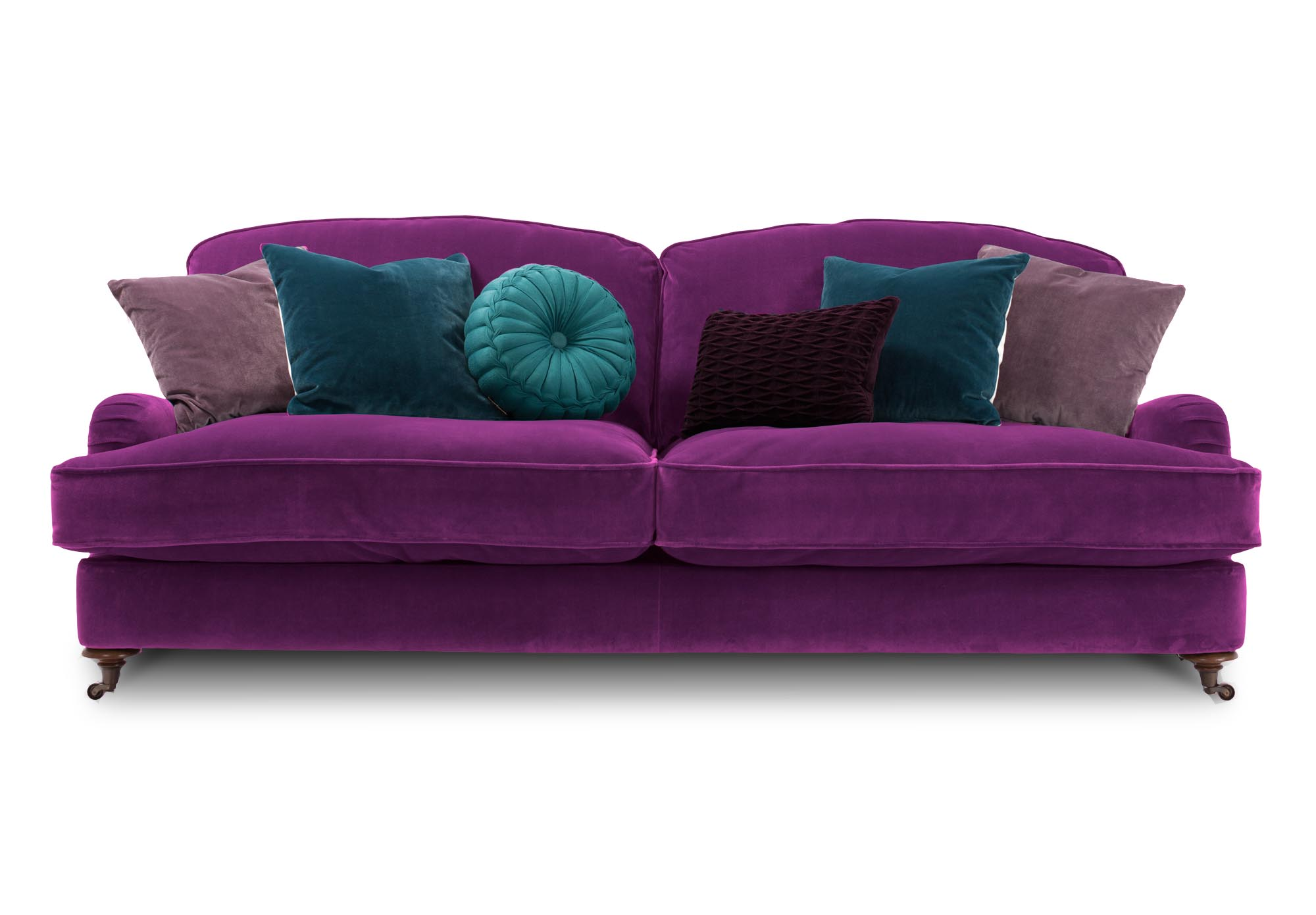 Harlequin isabelle 3 seater sofa from furniture village for Purple sofa