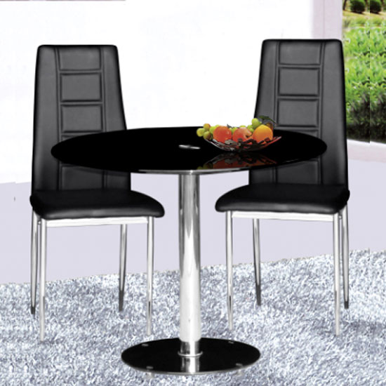 Parma round black glass dining table and 2 nova chairs for Small black dining table and chairs