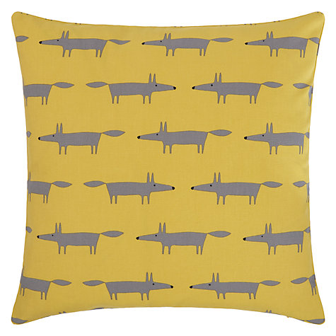 Scion Mini Mr Fox Cushion, Yellow/Grey
