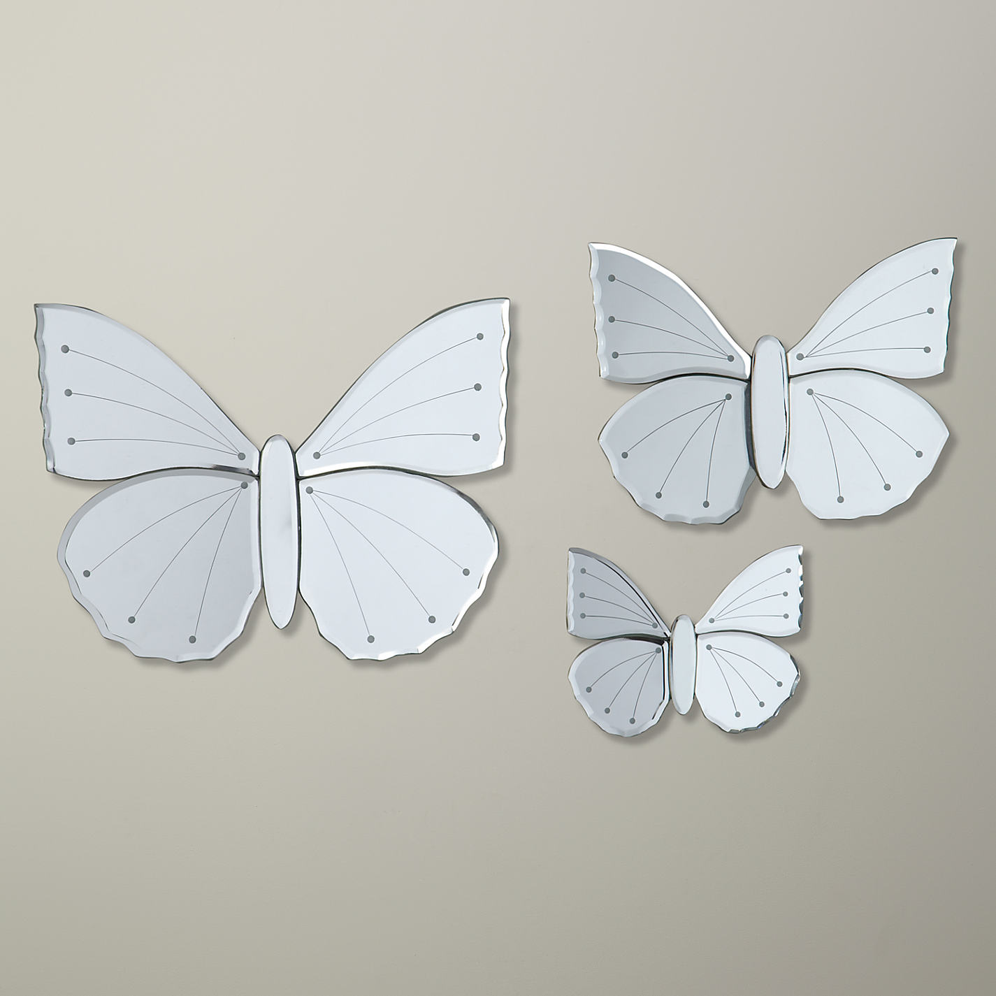 set of 3 butterfly mirrors from john lewis. Black Bedroom Furniture Sets. Home Design Ideas