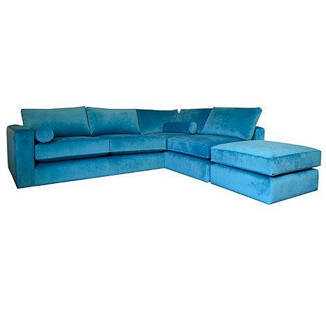 Teal Arundel Velvet Goodwood Right Hand Facing Corner Unit Sofa From Debenhams Funkyinteriors Com