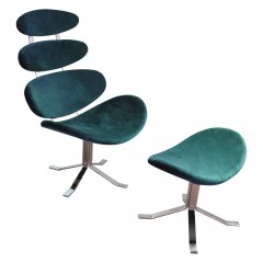 Teal Revolving Microfibre Chair and Footstool