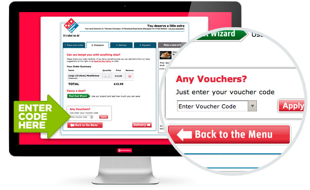 where to use this Dominos code
