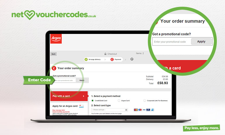 3) Click on the Argos voucher code that suits your purchase e.g. 20% off home or 25% off Furniture or Gym Equipment Etc 4) Copy and paste the Argos Voucher Code in the voucher code box 5) Get discount and pay for goods - Simples!