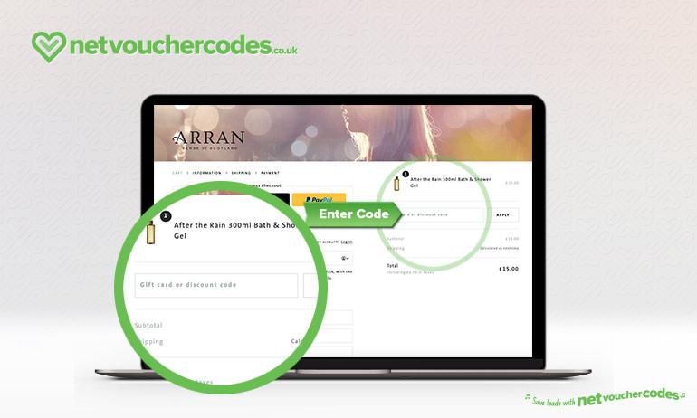 Where to enter your Arran Discount Code