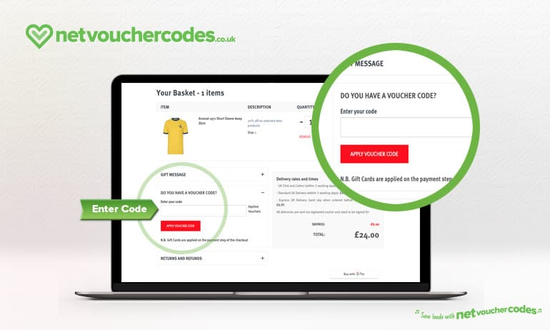 Where to enter your Arsenal Direct Discount Code