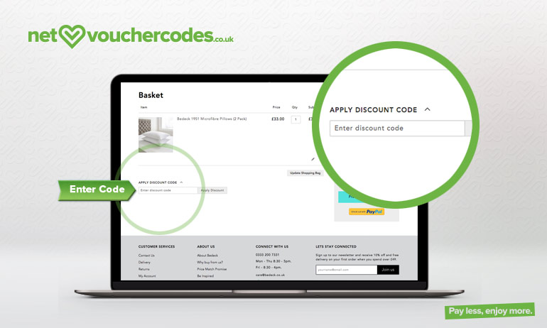 Where to enter your Bedeck discount code