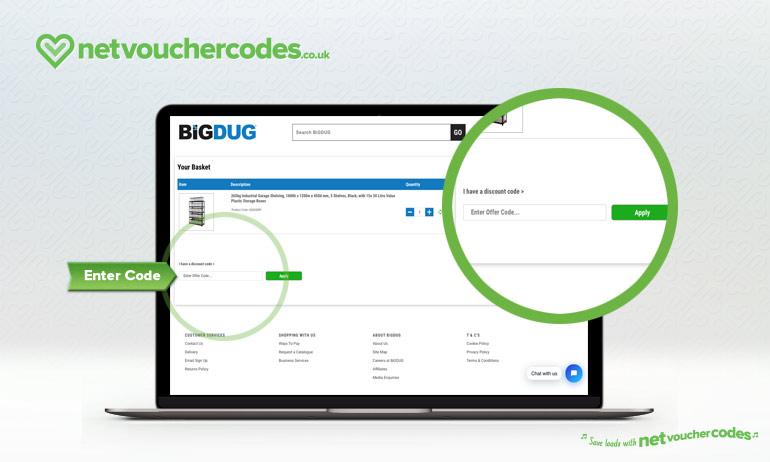 Where to enter your BiGDUG Discount Code.