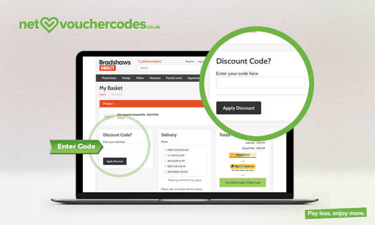 bradshawsdirect where to enter code