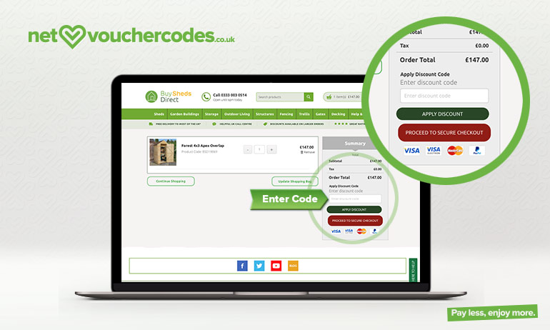 buyshedsdirect where to enter code