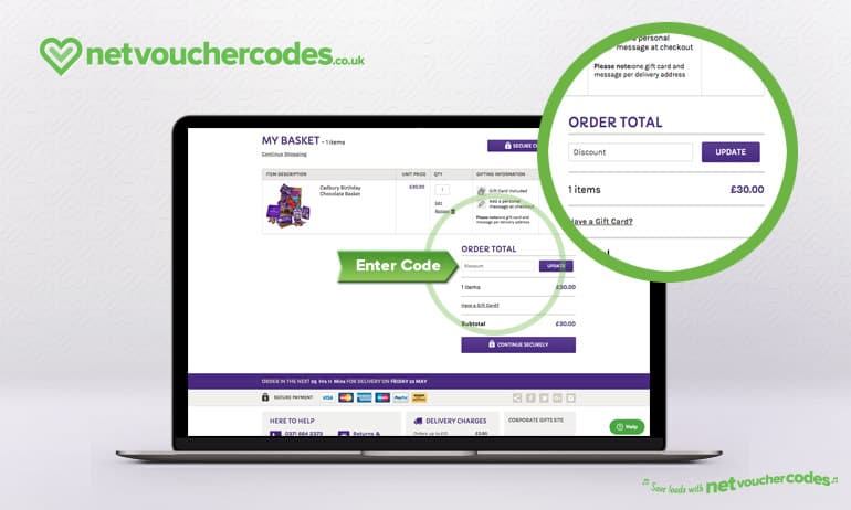 Where to enter your Cadbury Gifts Direct code
