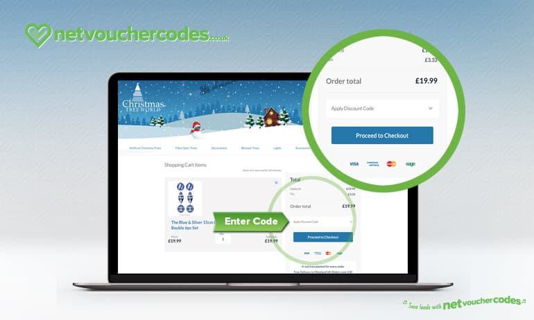 Where to enter your Christmas Tree World Discount code