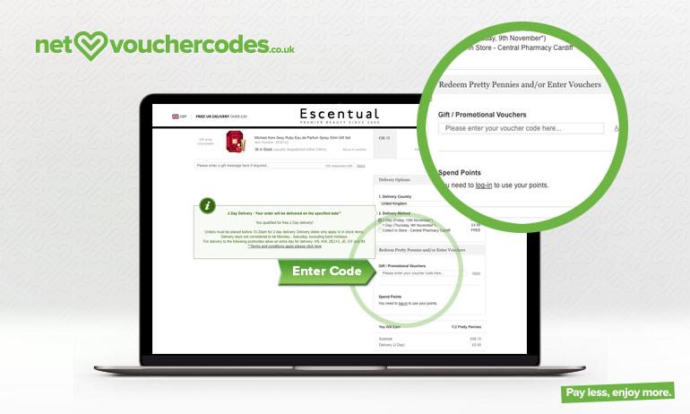 escentual where to enter code
