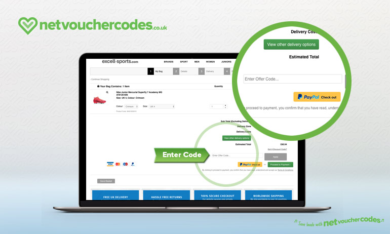 using voucher codes with Excell Sports.