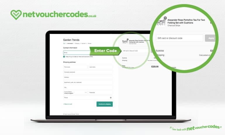 Where to enter your Garden Trends Discount Code