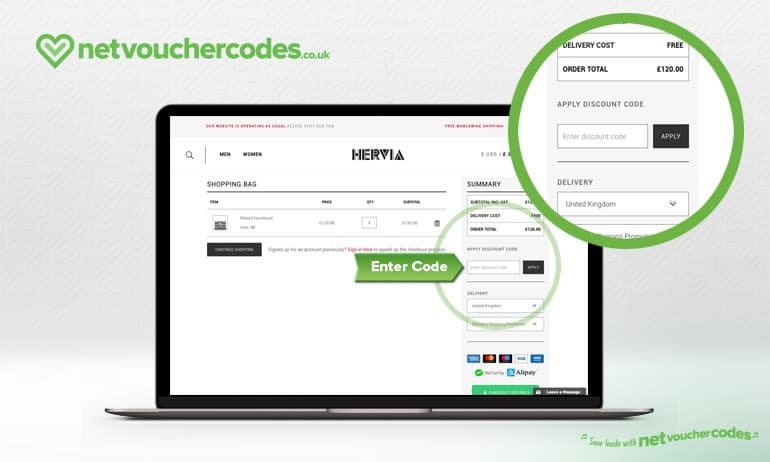 Where to enter your Hervia Discount code