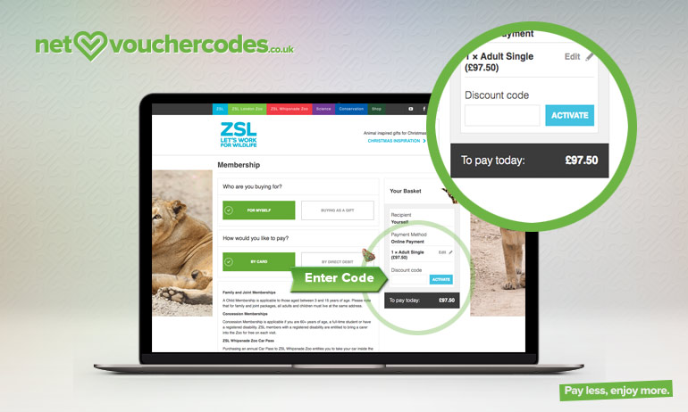 Where to enter your London Zoo Promo code