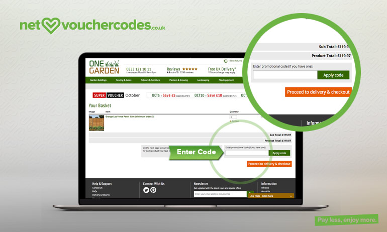 Where to enter your One Garden promotion code