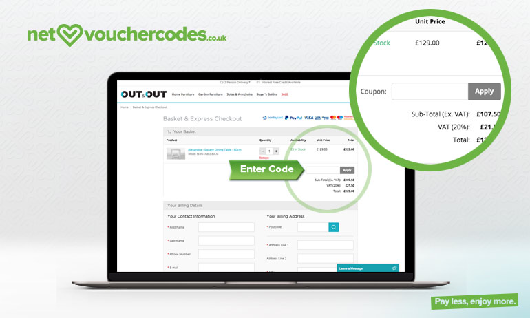 Where to enter your out & out voucher code
