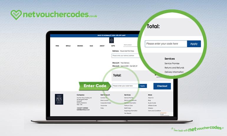 Where to enter your The Pen Shop Discount Code