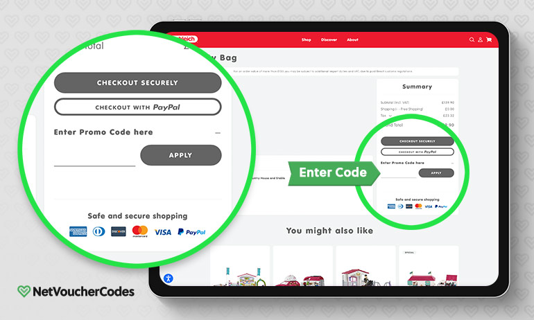 Where to enter your Schleich Discount Code