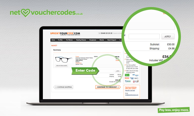 specky four eyes where to enter code