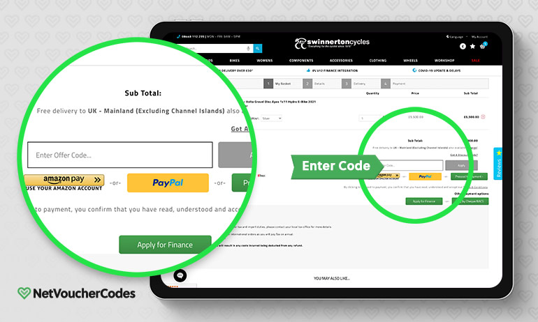 Where to enter your Swinnerton Cycles Discount Code.