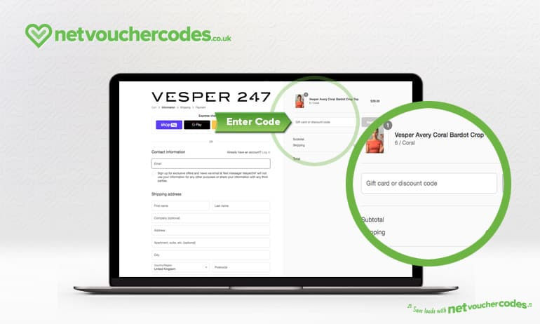 Where to enter your Vesper247 Discount code