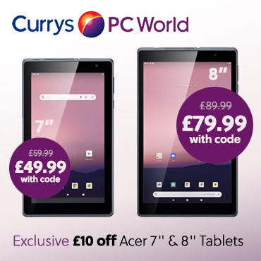 Currys £10 off Acer Tablets