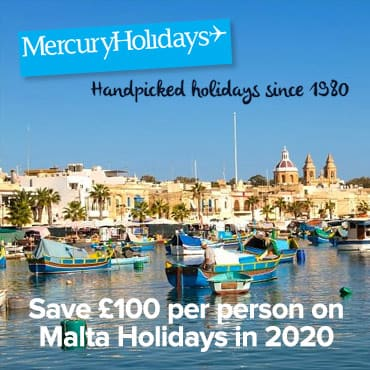 Mercury Hols £100pp off Malta