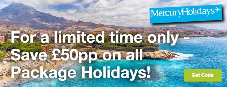 £50 off pp Mercury Holidays