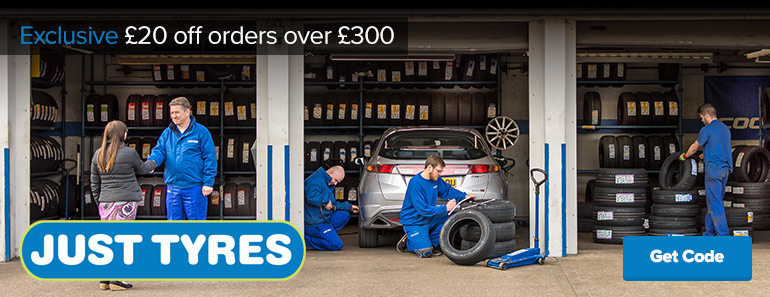 Just Tyres £20 off £300 Excl