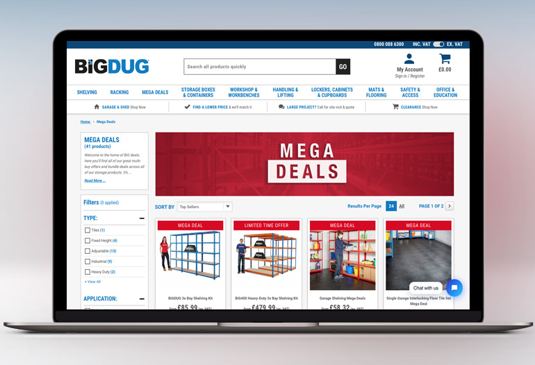 Visit BiGDUG, the nations favourite shelving supplier. Specialists in racking, heavy duty, industrial and garage shelves at unbeatable prices.