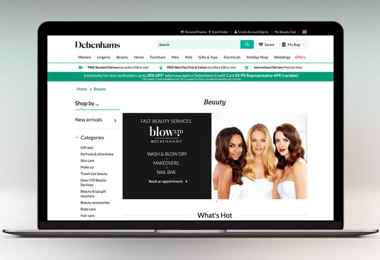 Debenhams Discount Codes Debenhams is the UK's ultimate department store catering to the beauty, home, and fashion needs of men, women, and children.