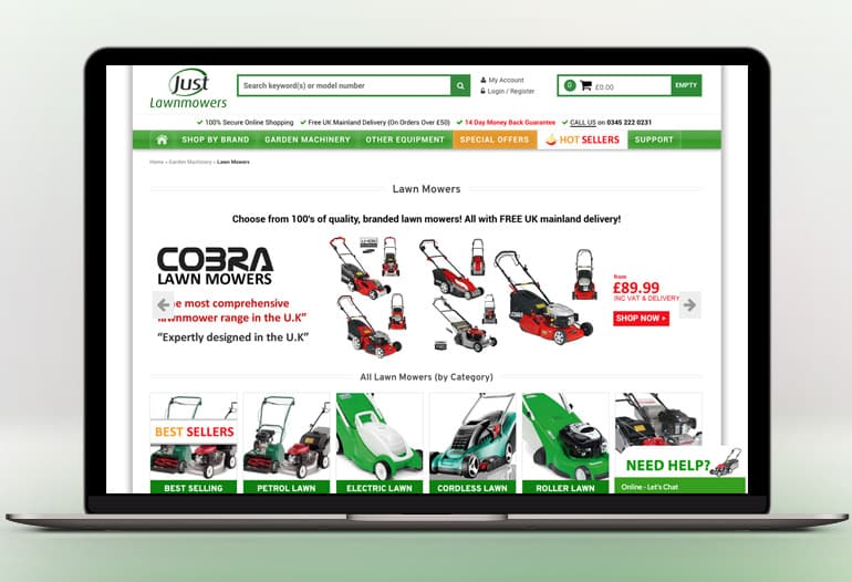 UK's No 1 online garden machinery website.