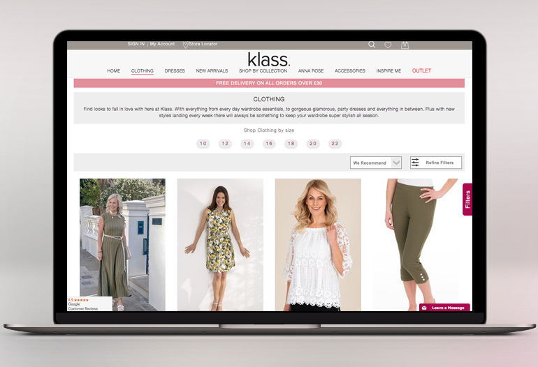 Huge Range Of The Latest Fashions From Klass
