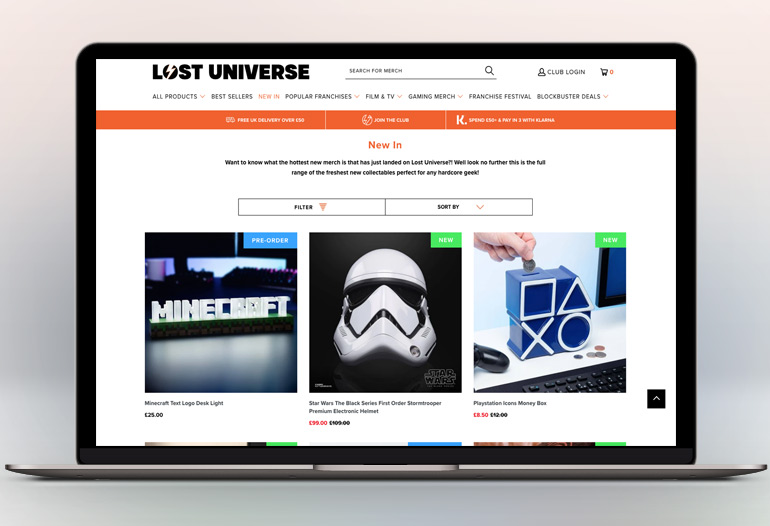 Discover a huge range of action figures, clothing, gaming tech, lighting, and more.