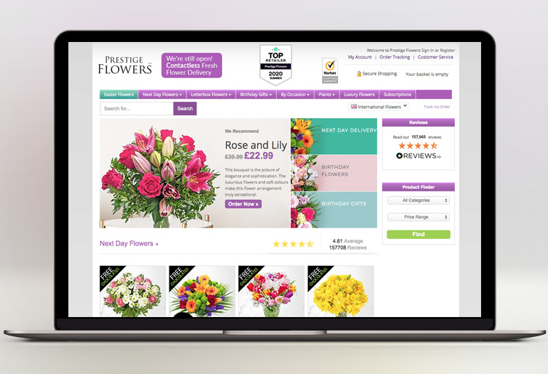 Prestige Flowers is voted #1 for next day flower delivery and Review Florist UK Editor's Choice.