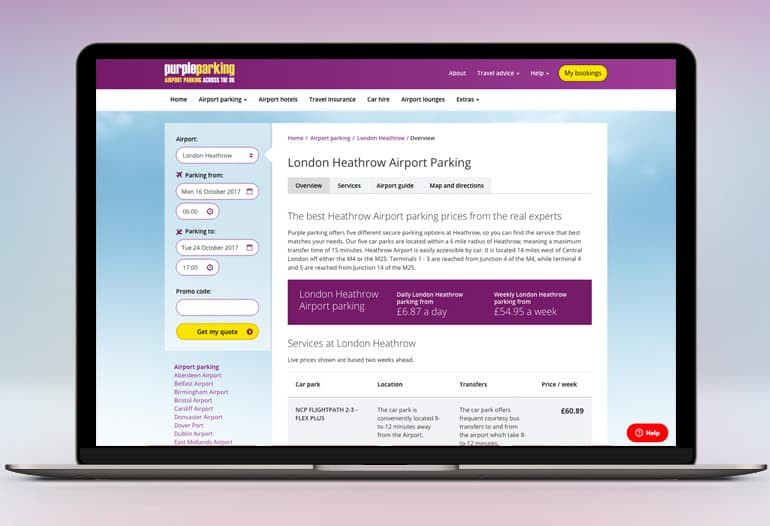 Purple Parking offers great discounts for Heathrow airport parking and functions on the premise that the longer you park, the more you save. The service was set up by Michael Inwards when a requirement for cheap and reliable means of transport to and from the airport was identified.