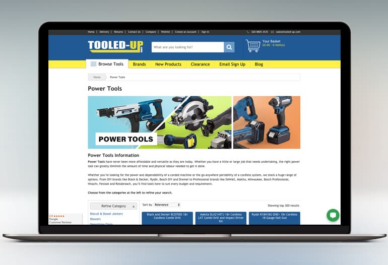 Huge range of tools and accessories