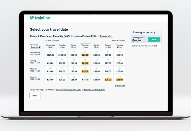 Trainline choosing your travel dates
