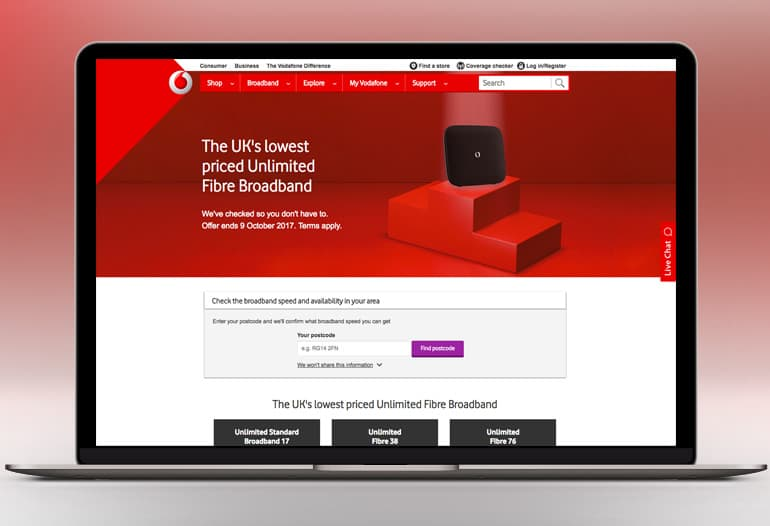 Vodafone unlimited broadband