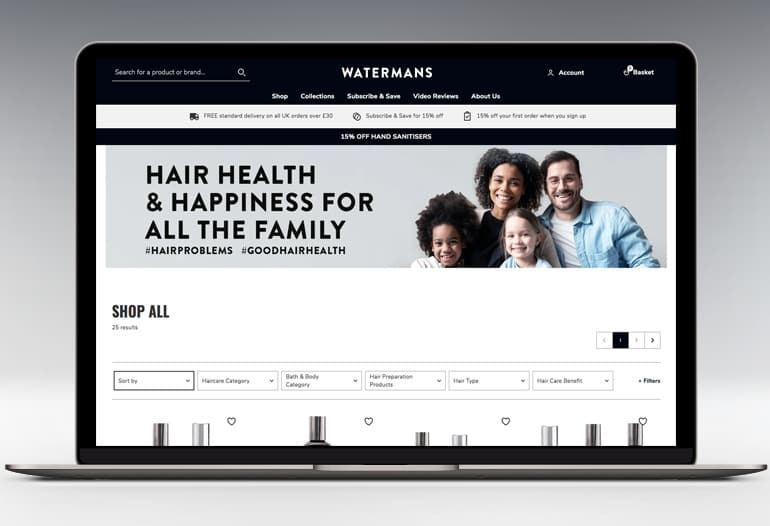 Watermans Grow Me hair growth shampoo for thicker, longer, stronger looking hair.