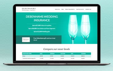 Debenhams Wedding Insurance store front