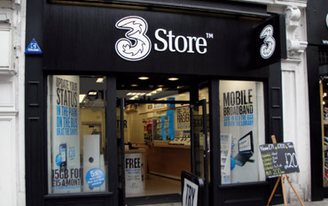 Three Mobile store front